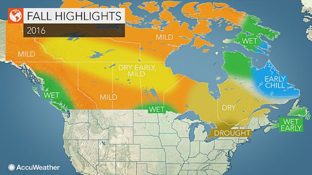 2016 Canada fall forecast: Drought to limit intensity of ... on canada vegetation map, canada smoke map, canada snow map, canada forest map, canada soil map, canada white map, canada weather map, canada landscape map, canada water map, canada animals map, canada blank map, canada tropical map, canada hardiness map, canada beach map, canada green map, canada terrain map, canada fall map, canada fire map, canada geological features map, canada mountains map,