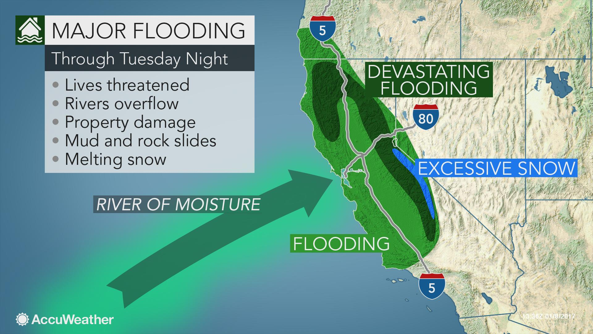 Map Of California Flooding.Life Threatening Flooding Problems To Mount As Storm Train Aims For