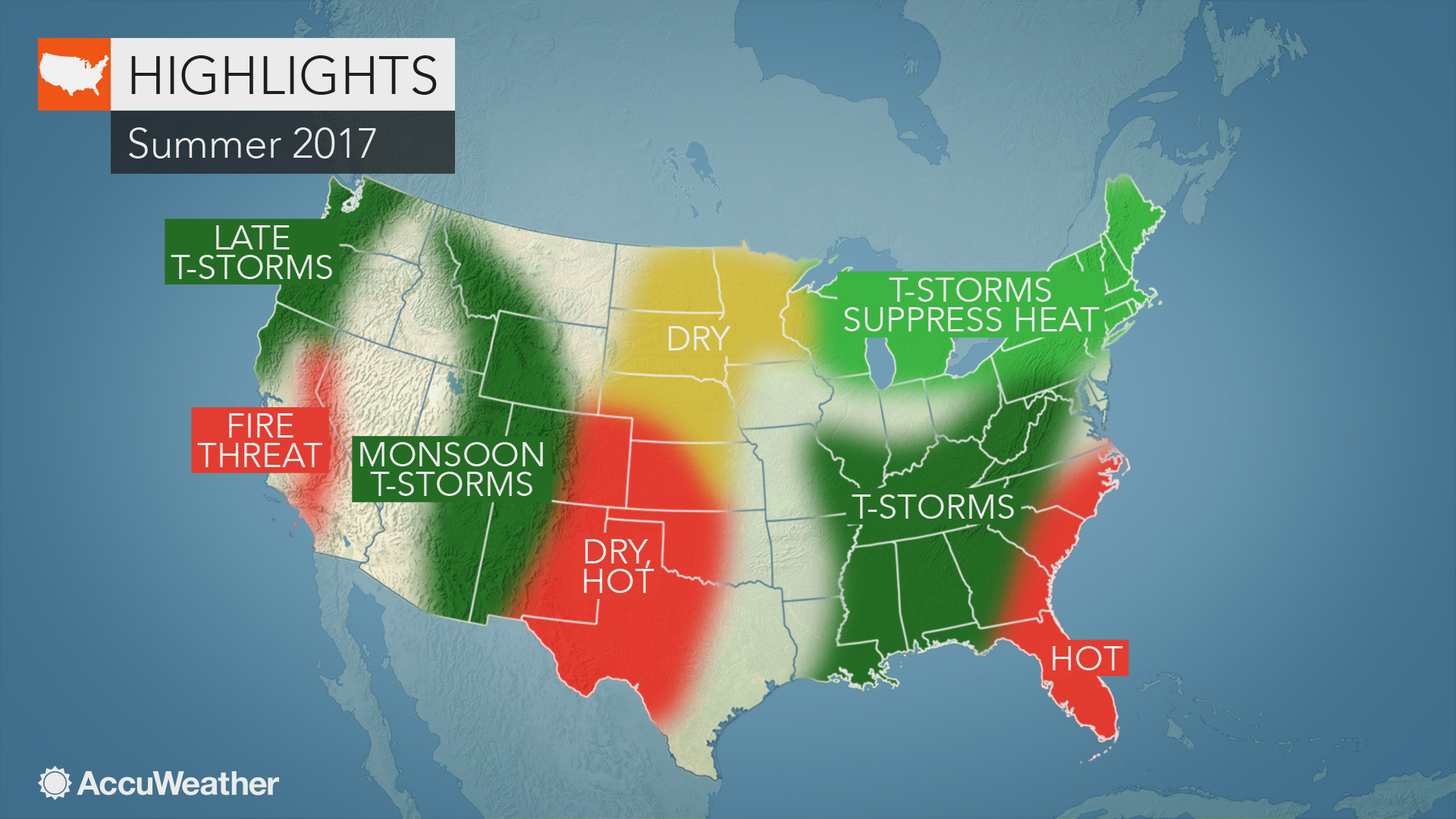 2017 US summer forecast: Early storms to hold back heat in ...