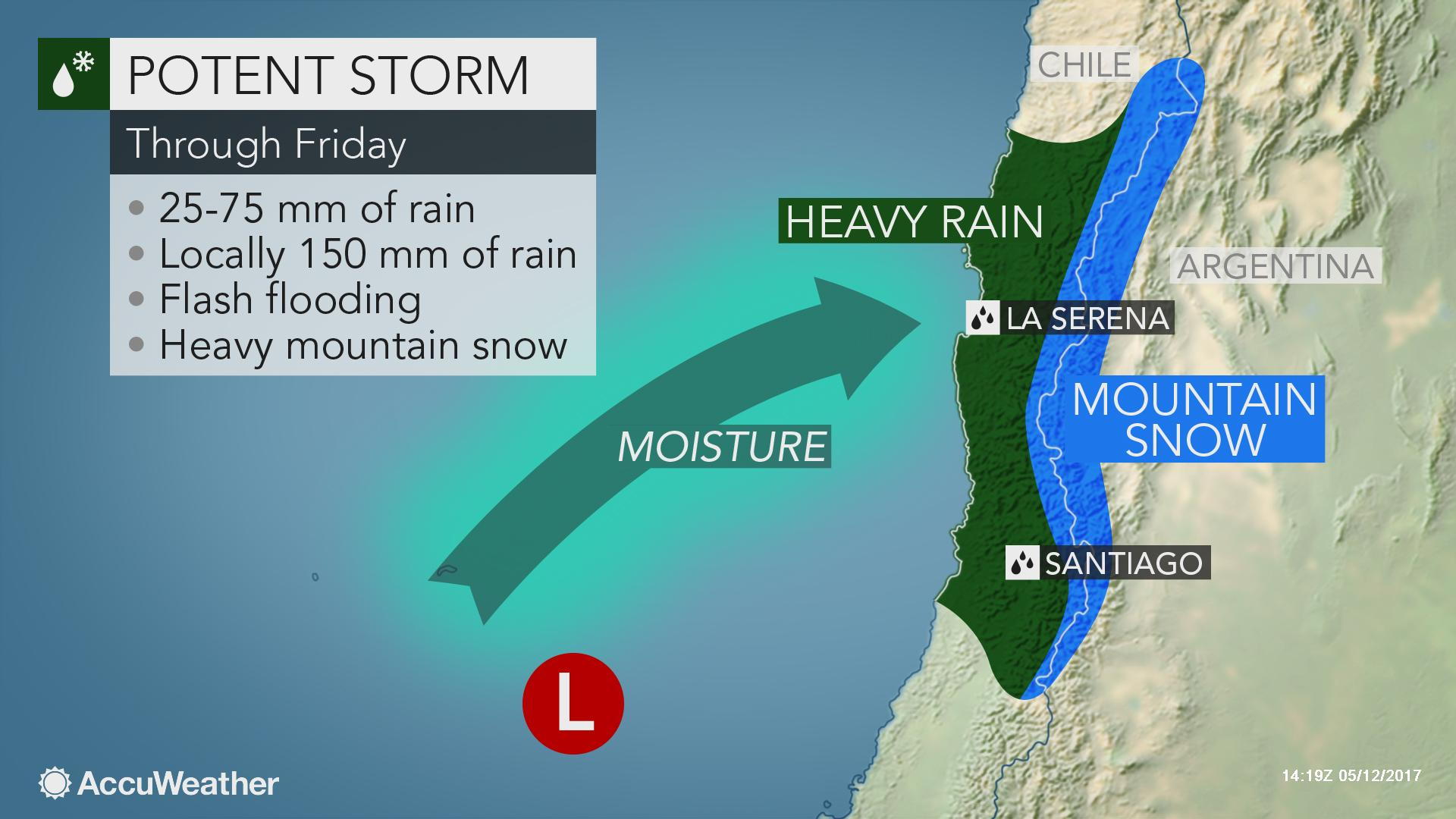 Heavy Rain Mountain Snow To Threaten Central Chile Into The Weekend Accuweather
