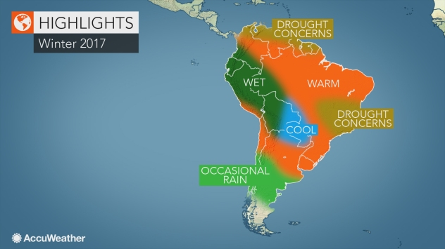 Map Of South America 2017.2017 South America Winter Forecast Drought To Worry Colombia