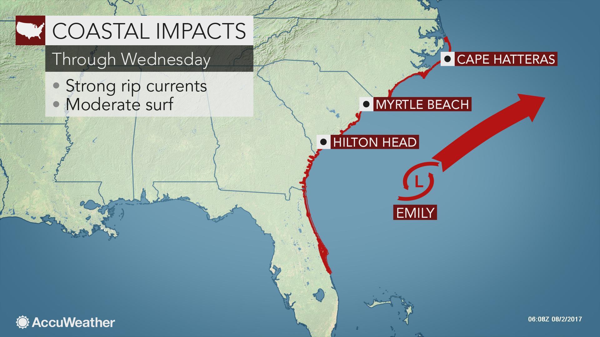 Emily to stir surf along US East Coast, Bermuda this week ...