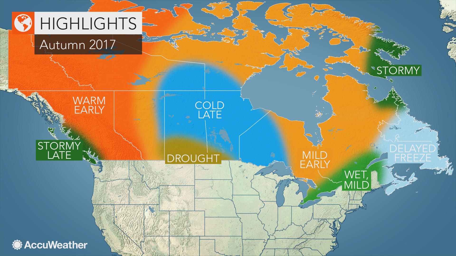 Canada Fall Foliage Map 2017 Canada fall forecast: Mild autumn to unfold in eastern