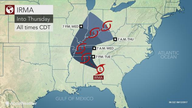 Irma's flooding rainfall, tornado threat to expand from