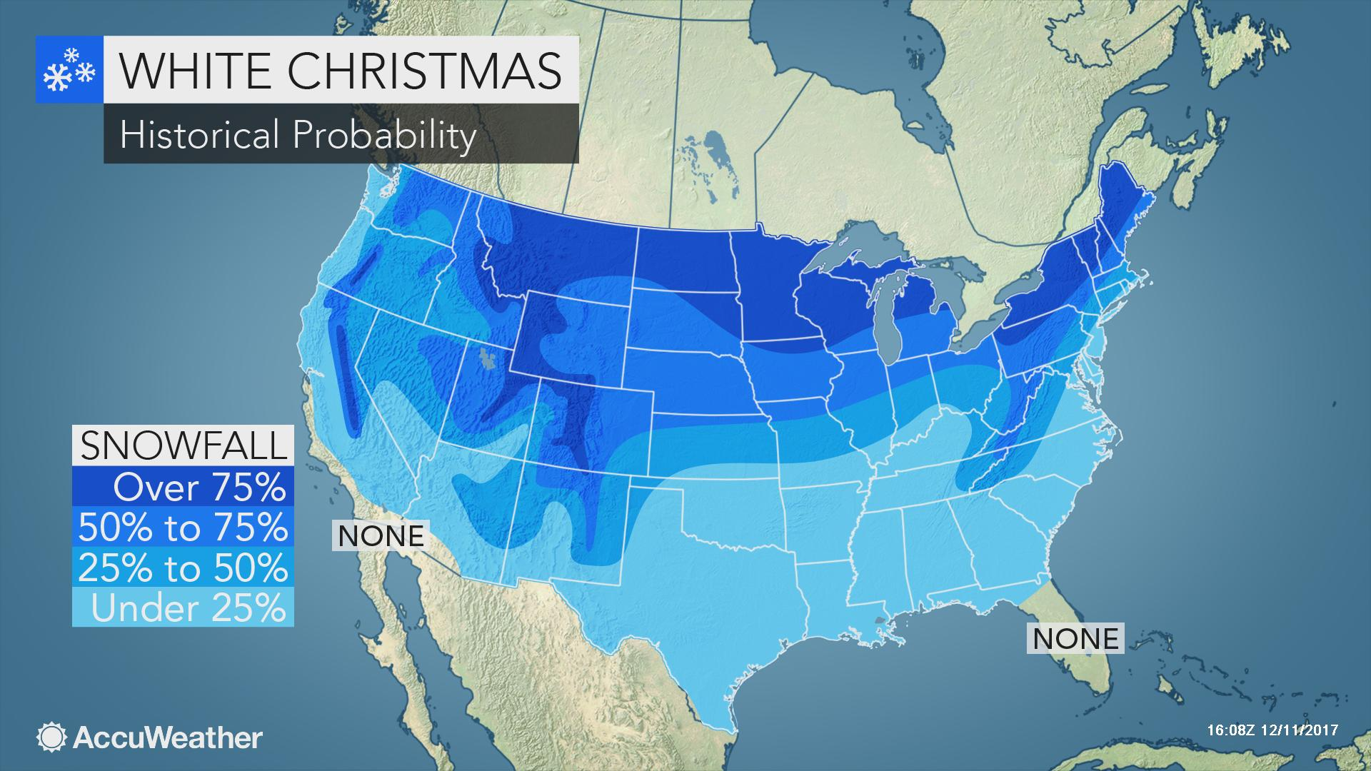 Chance Of White Christmas Map 2021 Where In The Us Is A White Christmas Most Likely This Year Accuweather
