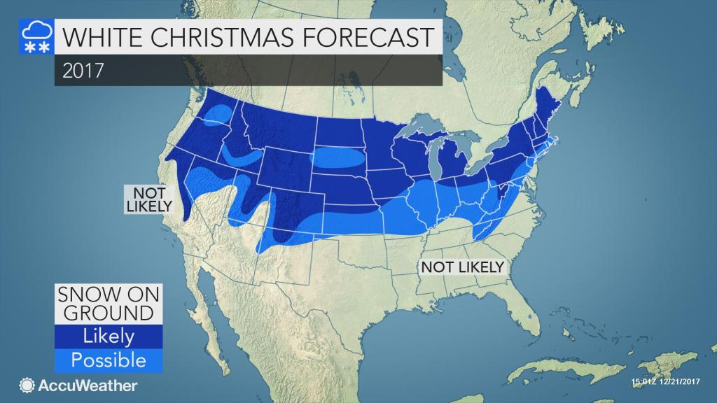 Where in the US is a white Christmas most likely this year?