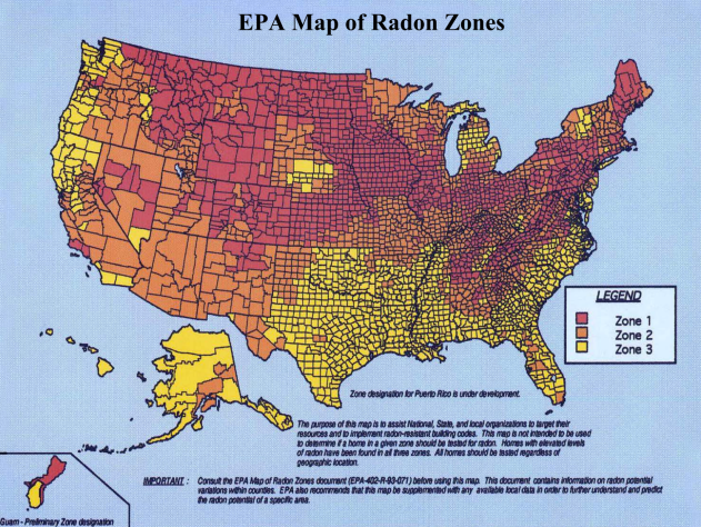 EPA Radon Zones Map