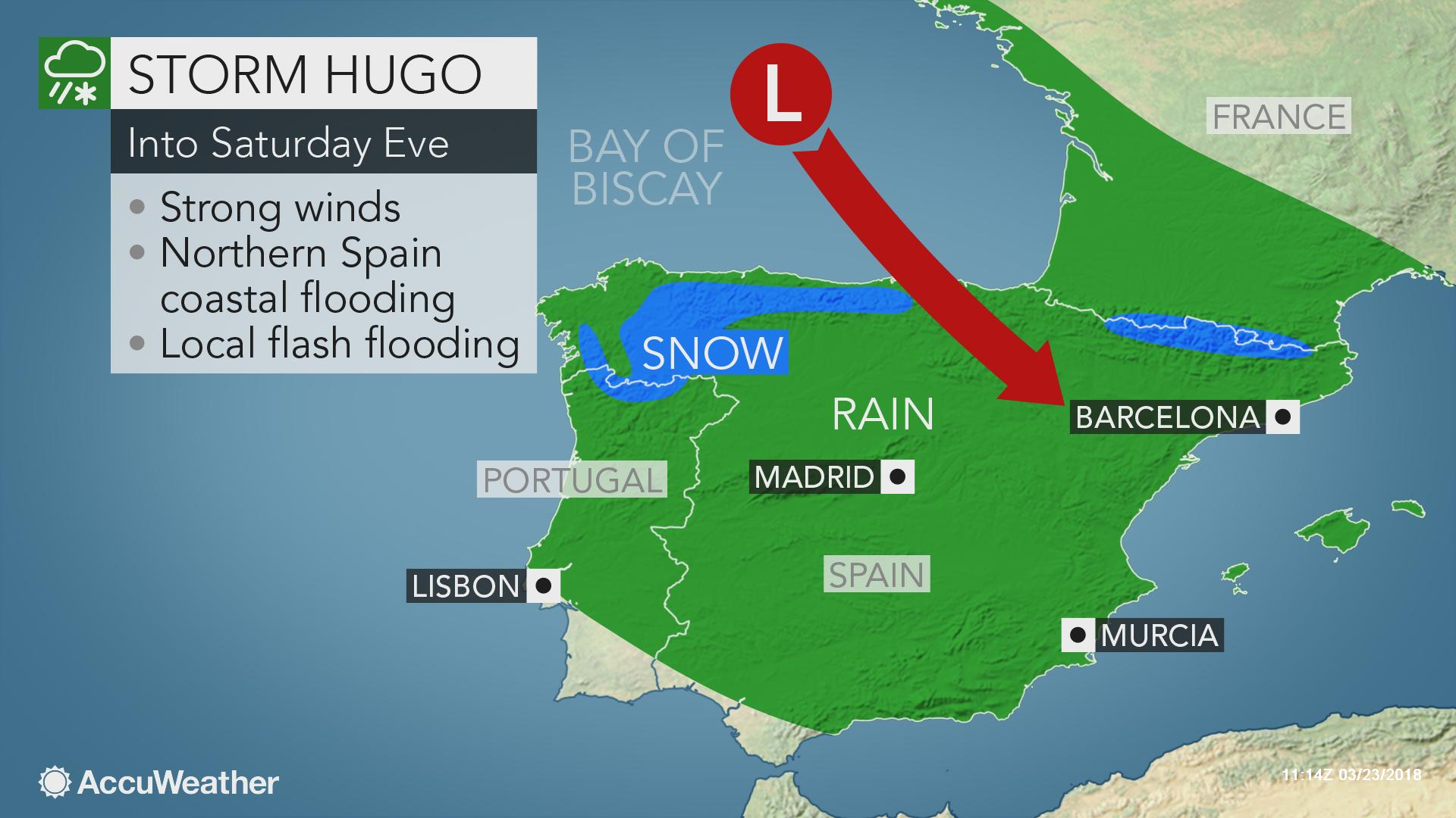 Map Of Northern Spain And Portugal.Storm Hugo To Threaten Spain Portugal With Flooding Rain And