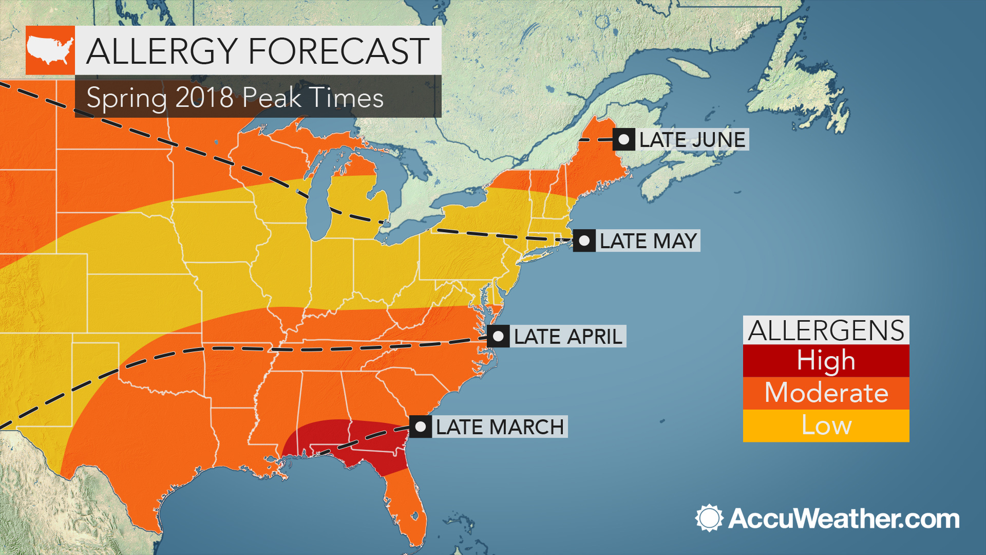 2018 spring allergy forecast: Pollen levels to soar early in