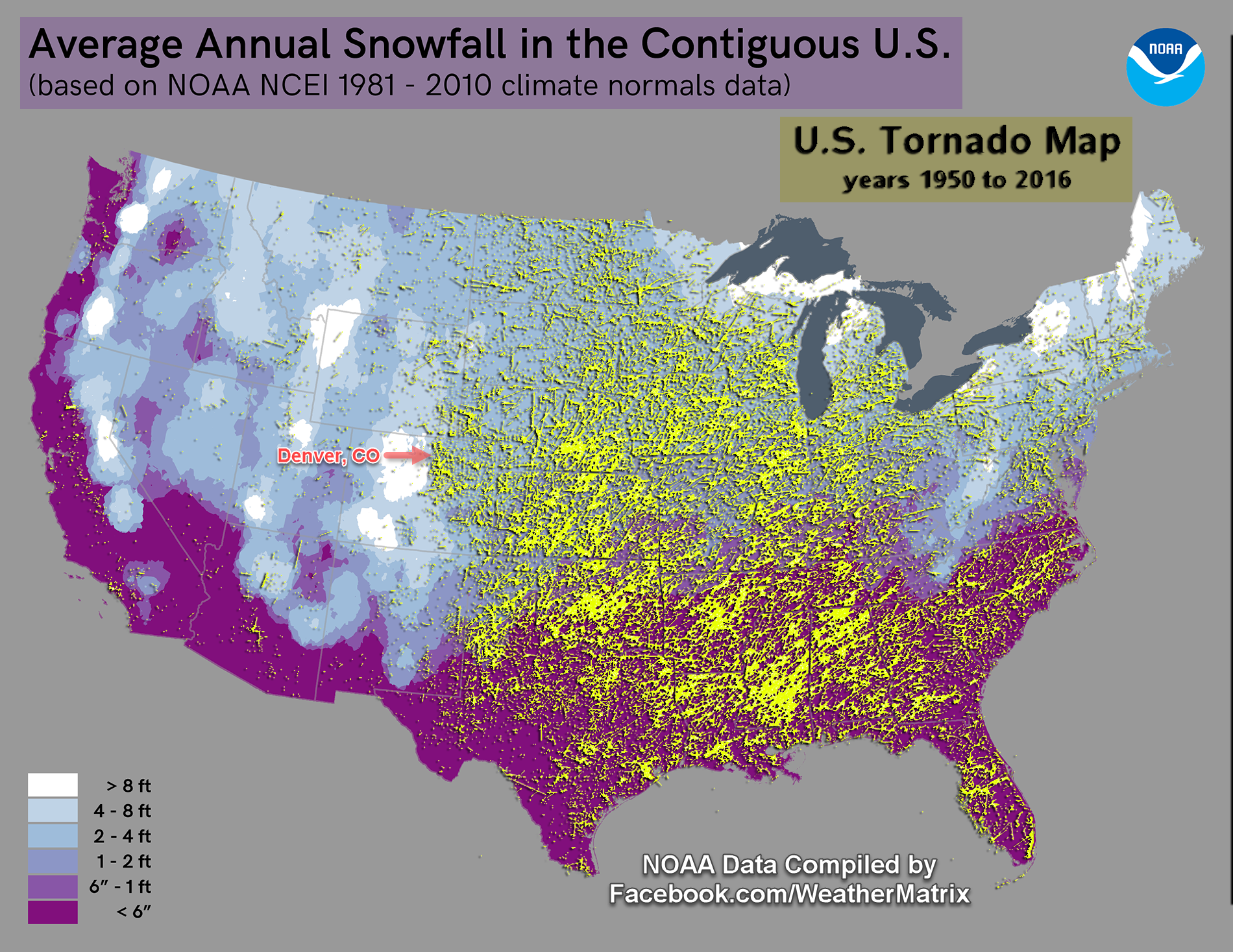 snow map of us Where In The U S Gets Both Extreme Snow And Severe Thunderstorms