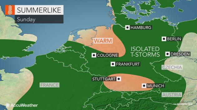 Germany: Warmth to last into this weekend as thunderstorms