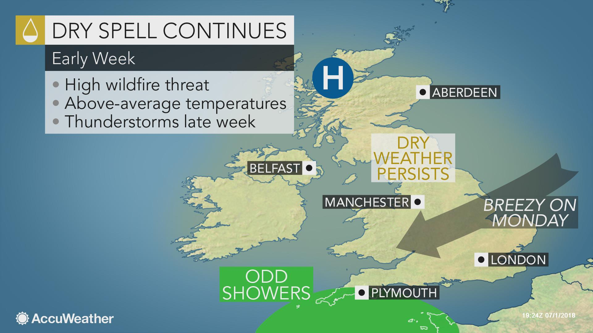 UK: Dry weather hinders fire-fighting efforts near Manchester