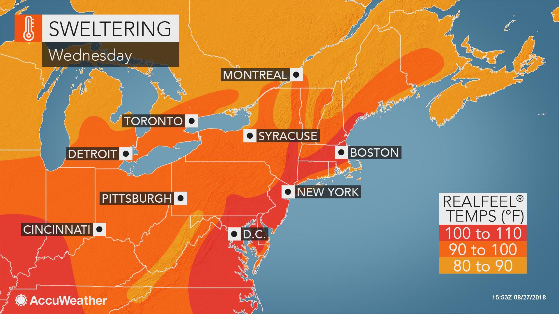DC to NYC, Boston: AccuWeather RealFeel® Temperatures to
