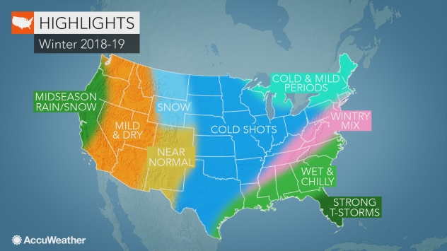AccuWeather's US winter forecast for 2018-2019 season