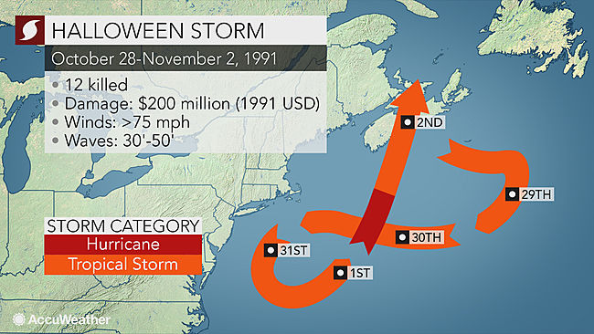 the perfect storm weather map 1991 Perfect Storm How The Deadly System That Inspired A