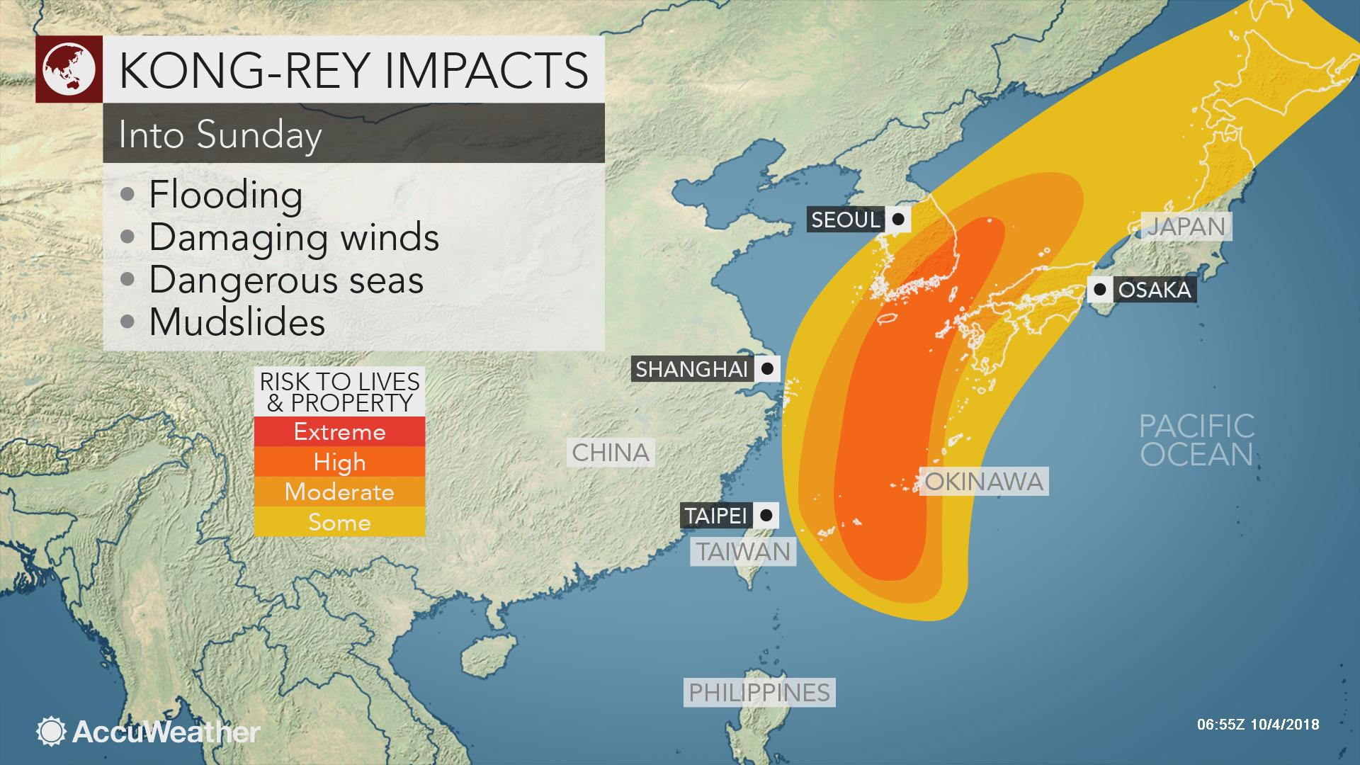 Typhoon Kong-rey to batter Japan, South Korea with wind and rain