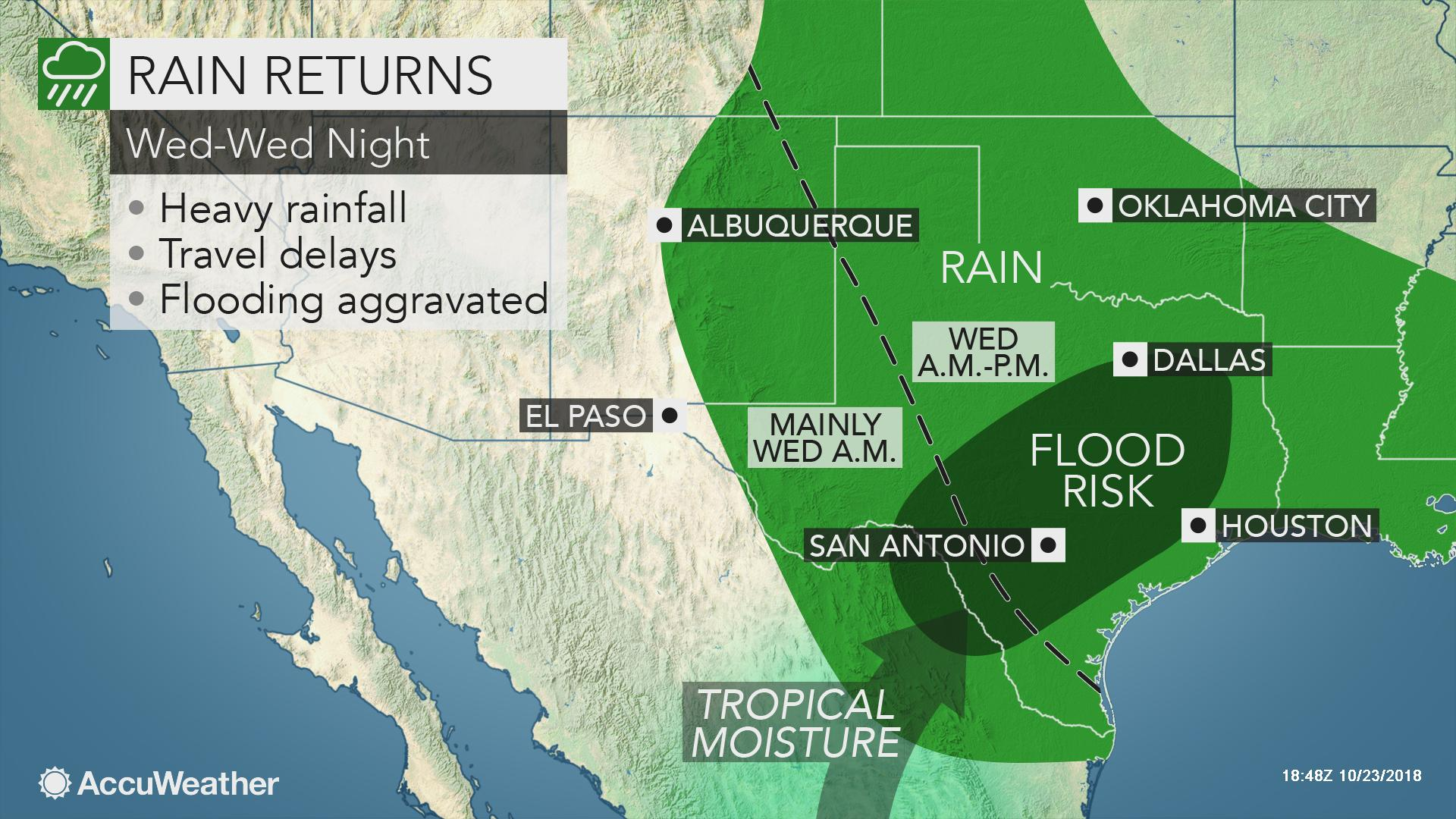 Map Of Texas Flooding Rounds of heavy rain to threaten flooding across Texas at midweek