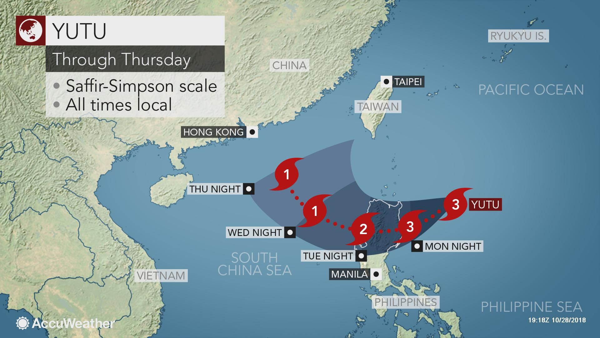 Typhoon Yutu to bring torrential rain, damaging winds to the
