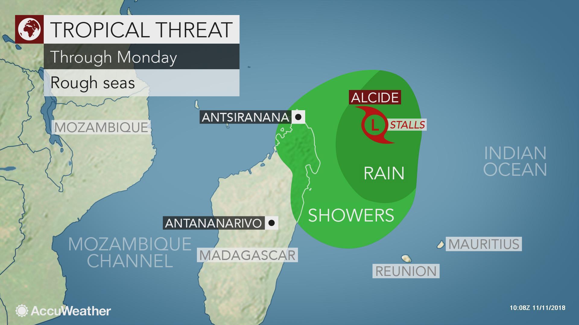 Alcide to stir rough surf along Madagascar coast into early week