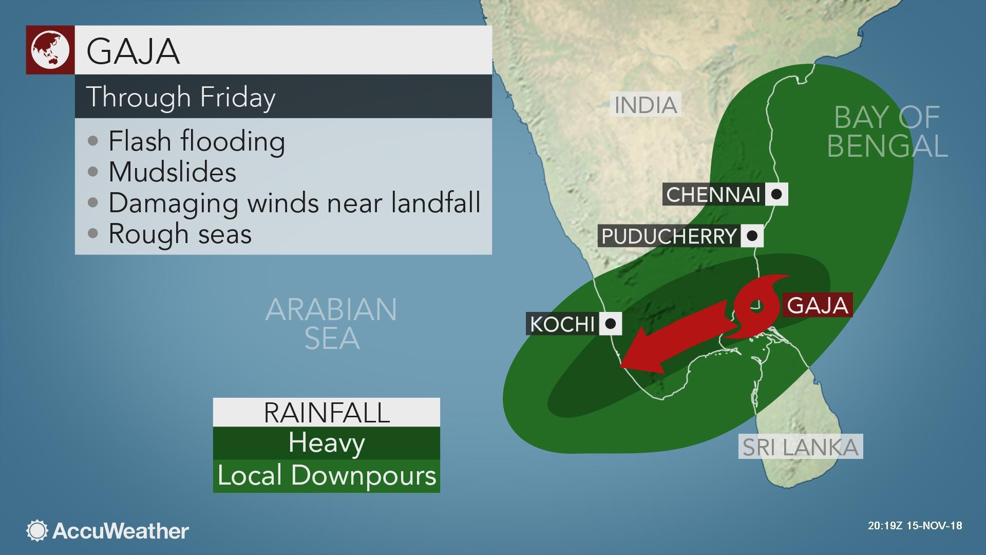 India: Cyclone Gaja makes landfall in Tamil Nadu, kills at