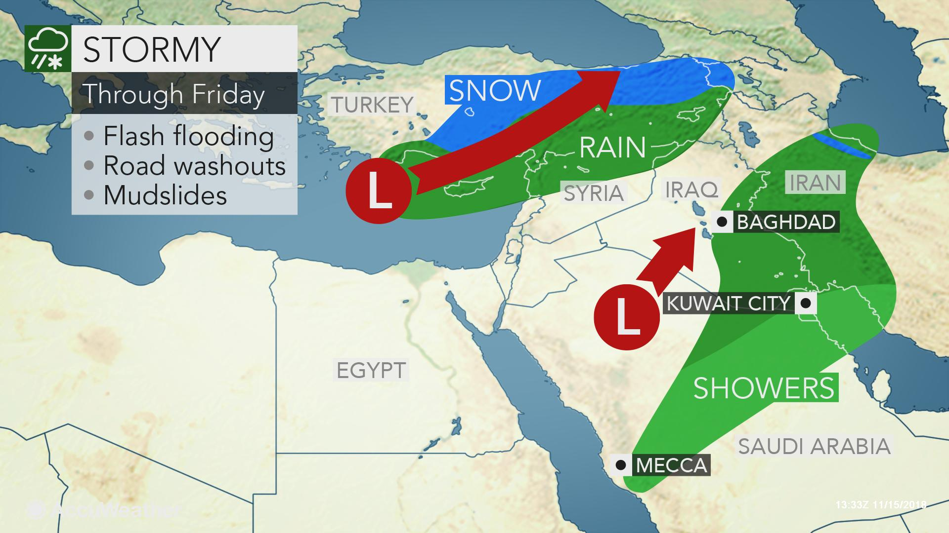 Close to year's worth of rain inundates Kuwait City with