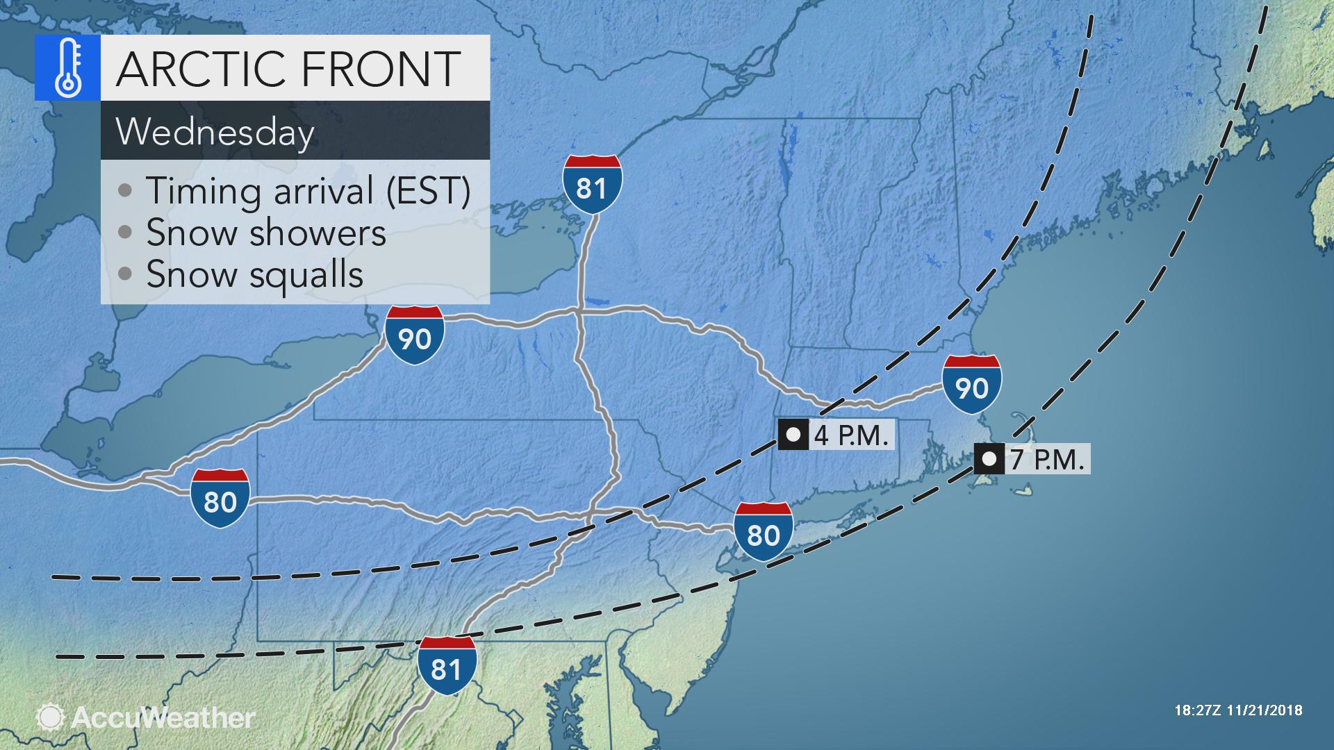 Snow squalls to threaten dangerous travel in Northeast on