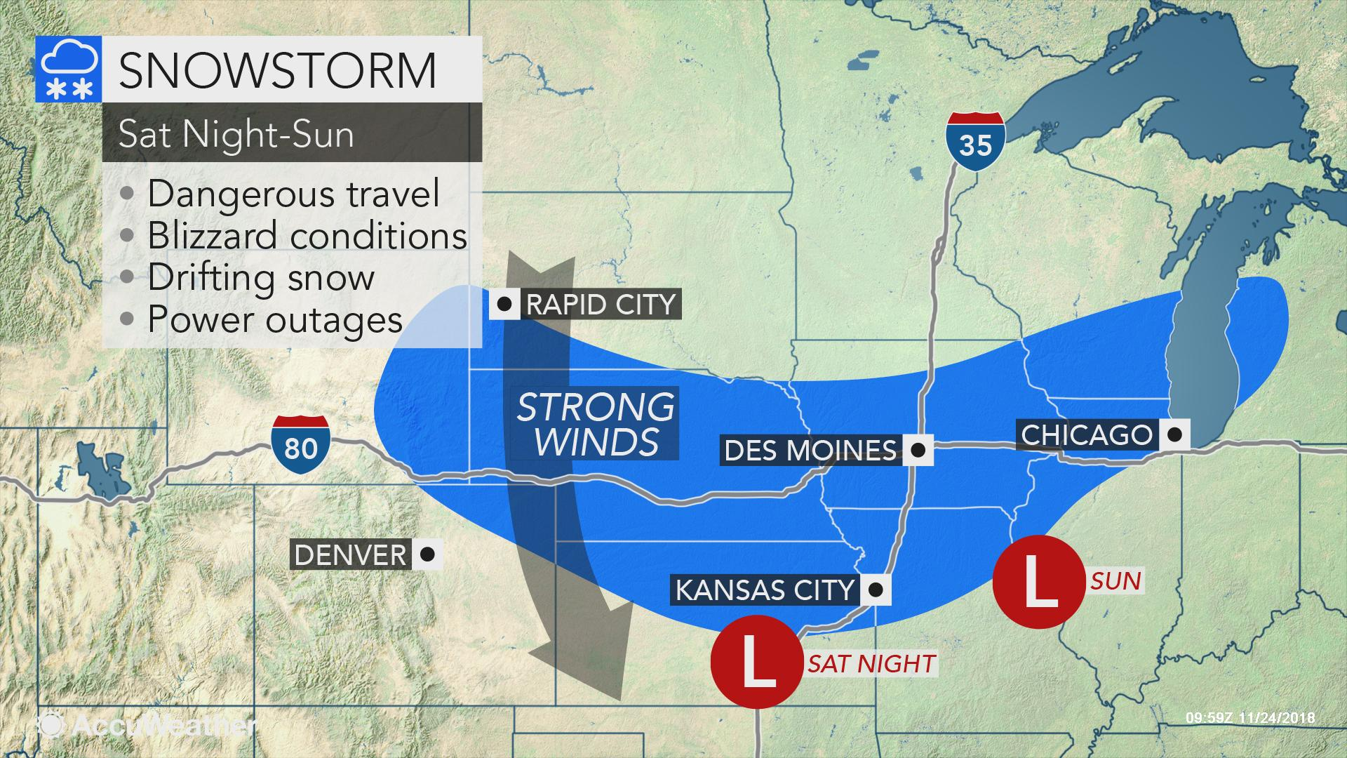 Snowstorm to unleash blizzard conditions across central US