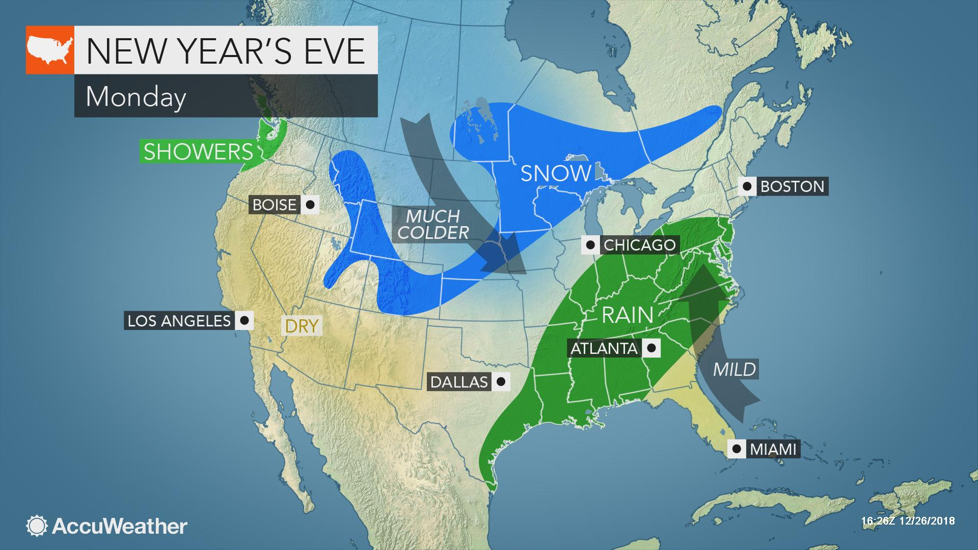 Eastern US may face wet, snowy weather as millions celebrate ...