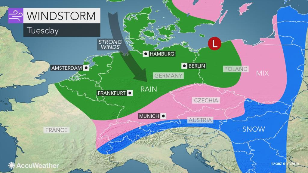 Map Of Germany And Amsterdam.Strong Wind To Blast Germany Low Countries On Tuesday