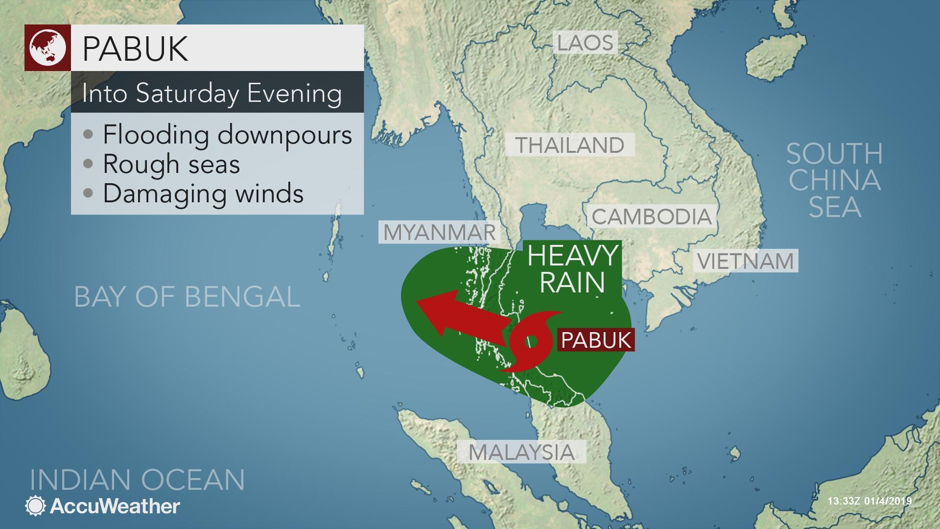 Tropical Storm Pabuk makes landfall in southern Thailand