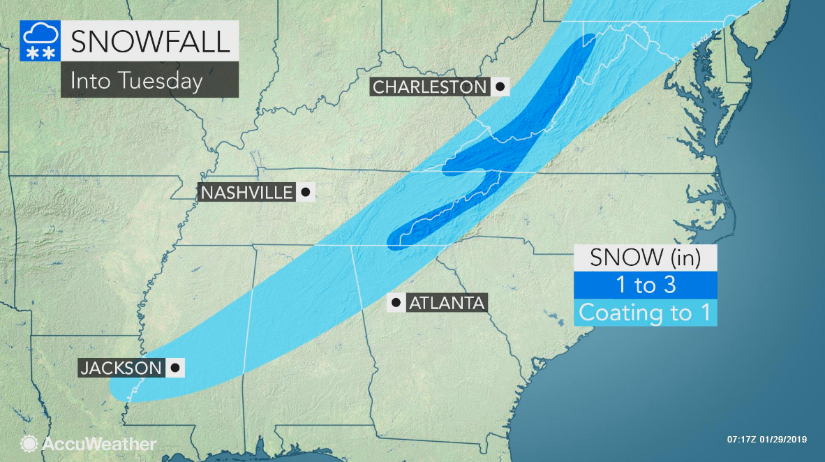Southern US snow to be followed by freeze-up, more dangerous