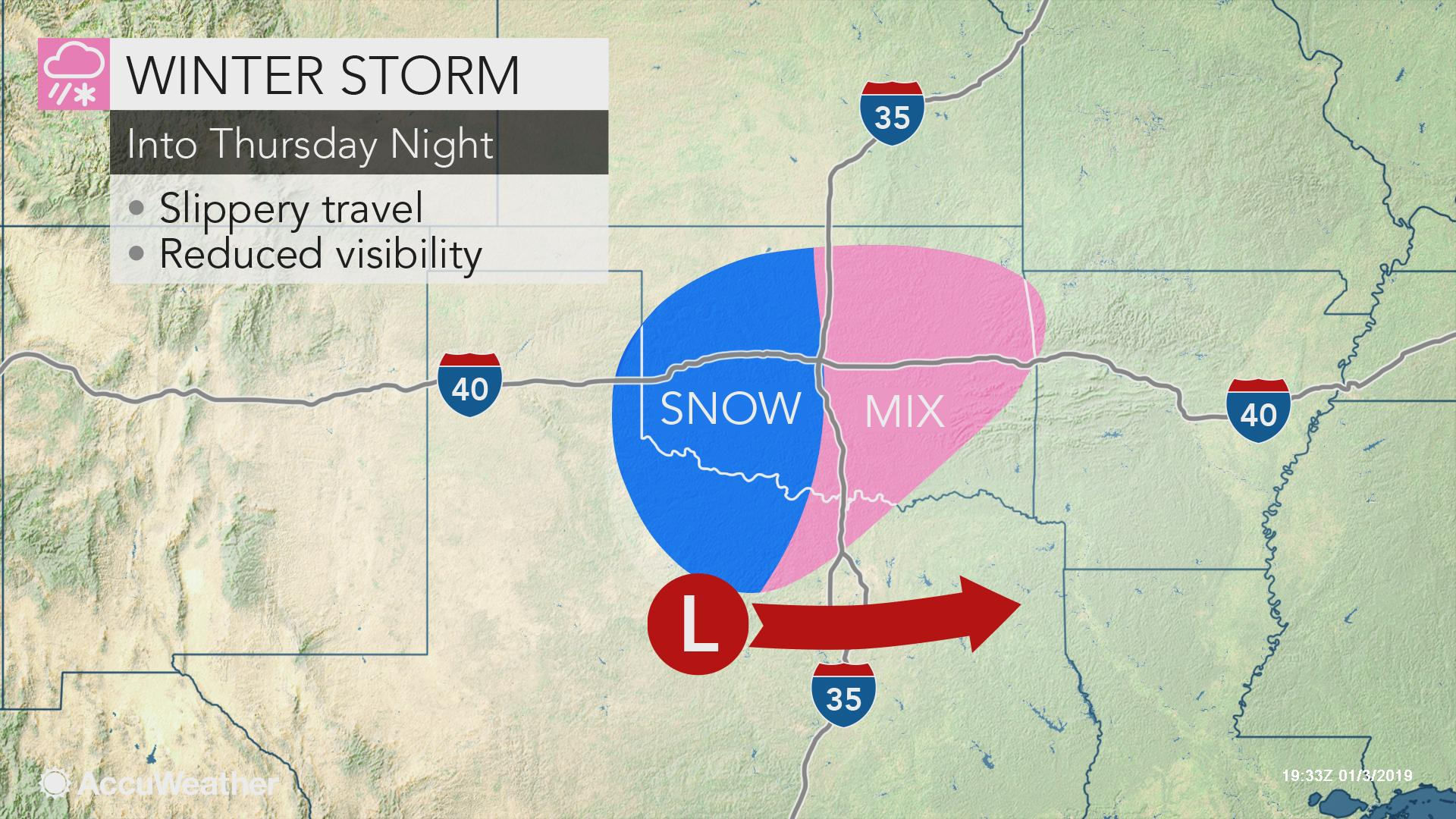 Snow, ice to create difficult travel conditions from Texas ...