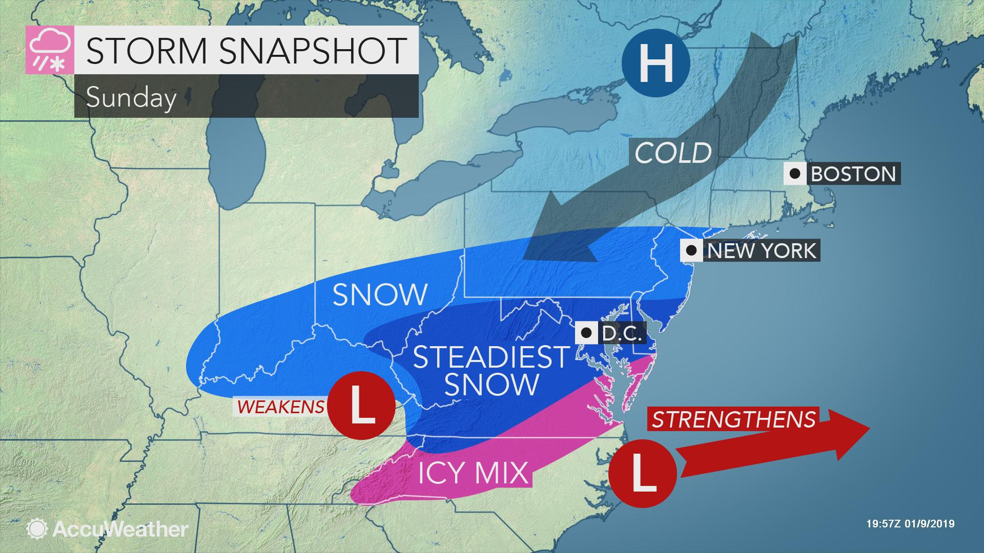 Weekend storm to unleash snow, ice from North Carolina to
