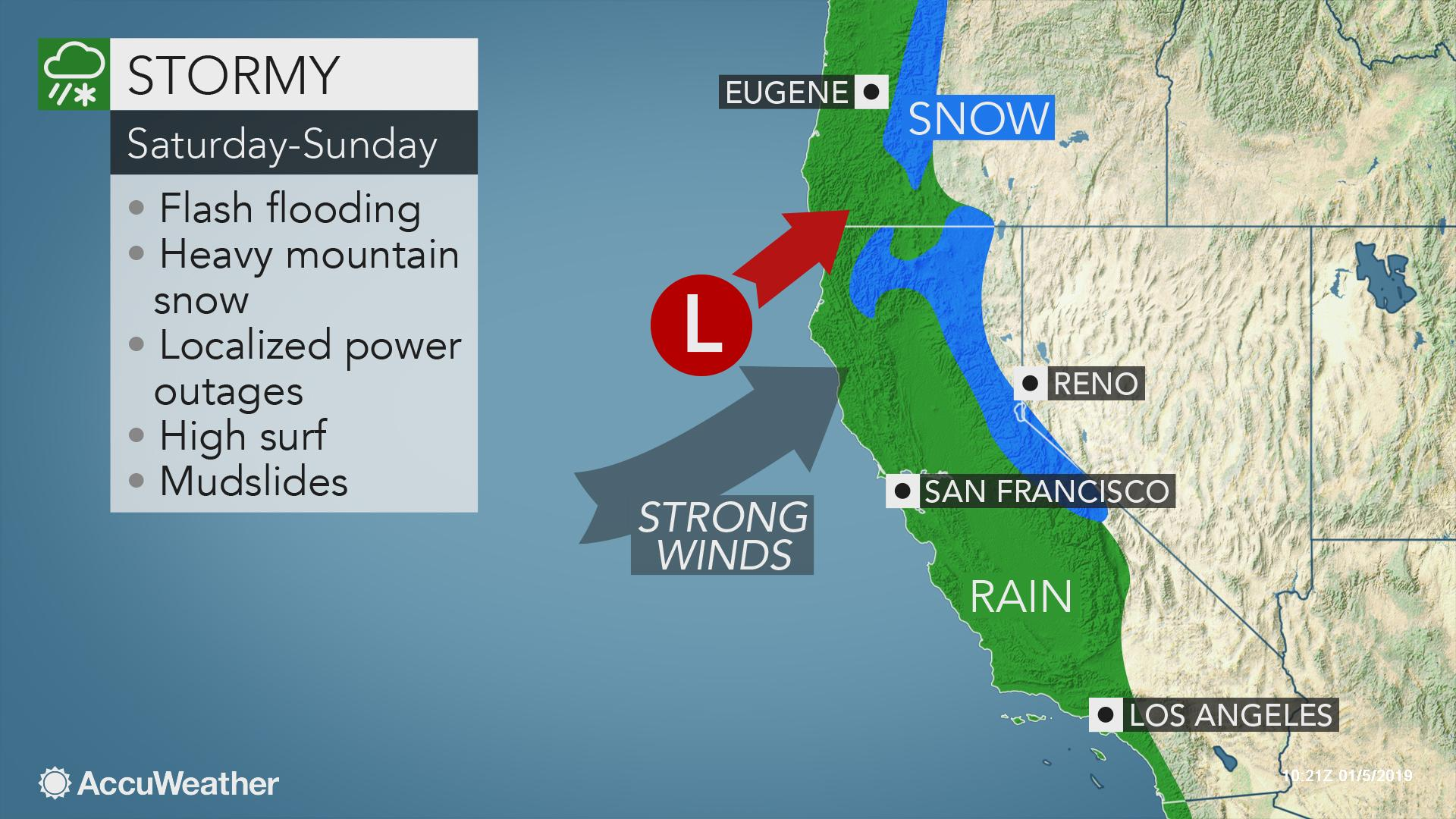 Weekend storm to be start of Pacific storm parade along US