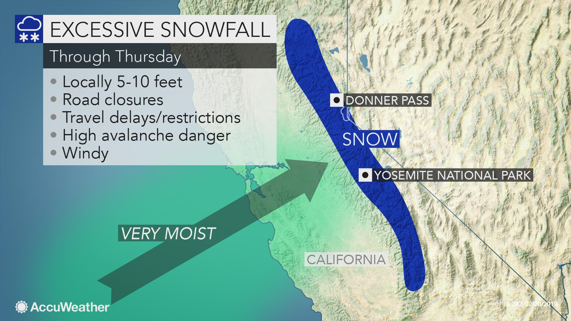 snow in california map Atmospheric River To Continue Drenching Rain Mountain Snow Over