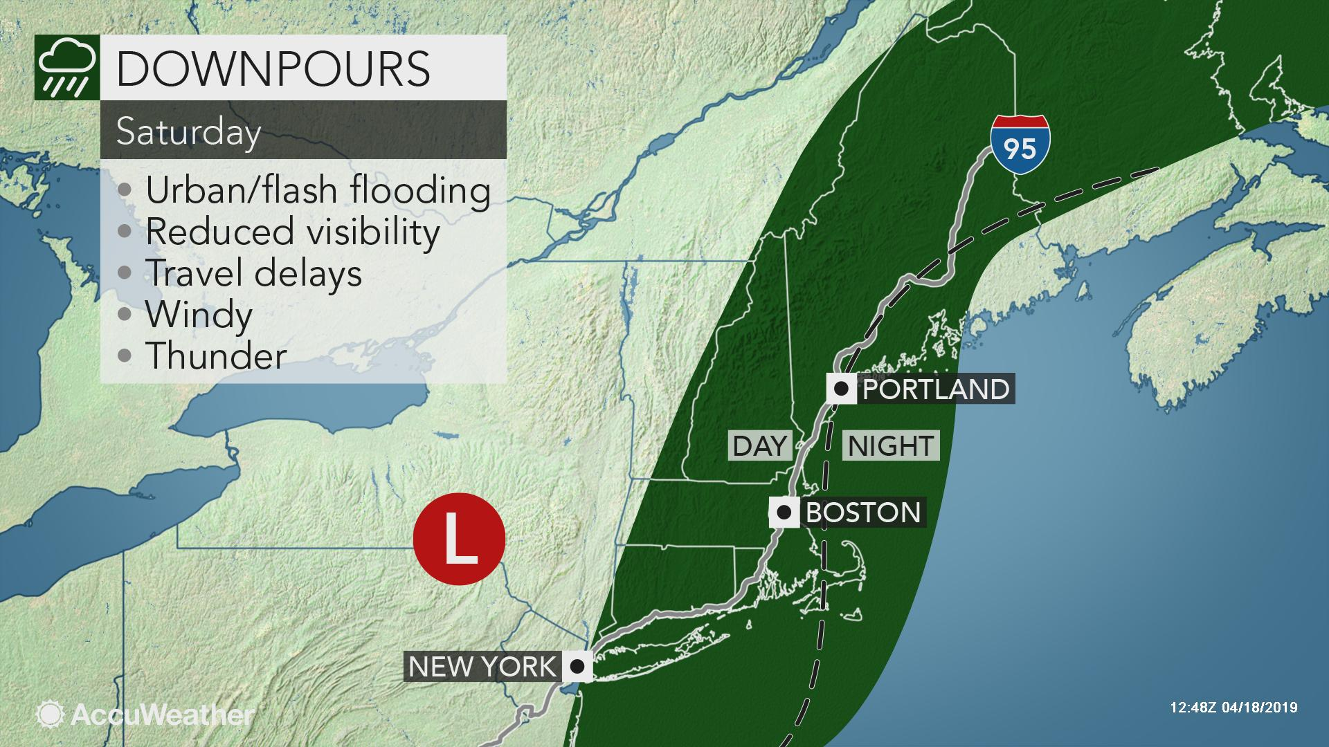 Northeastern US: Wet, gusty weather in store for the