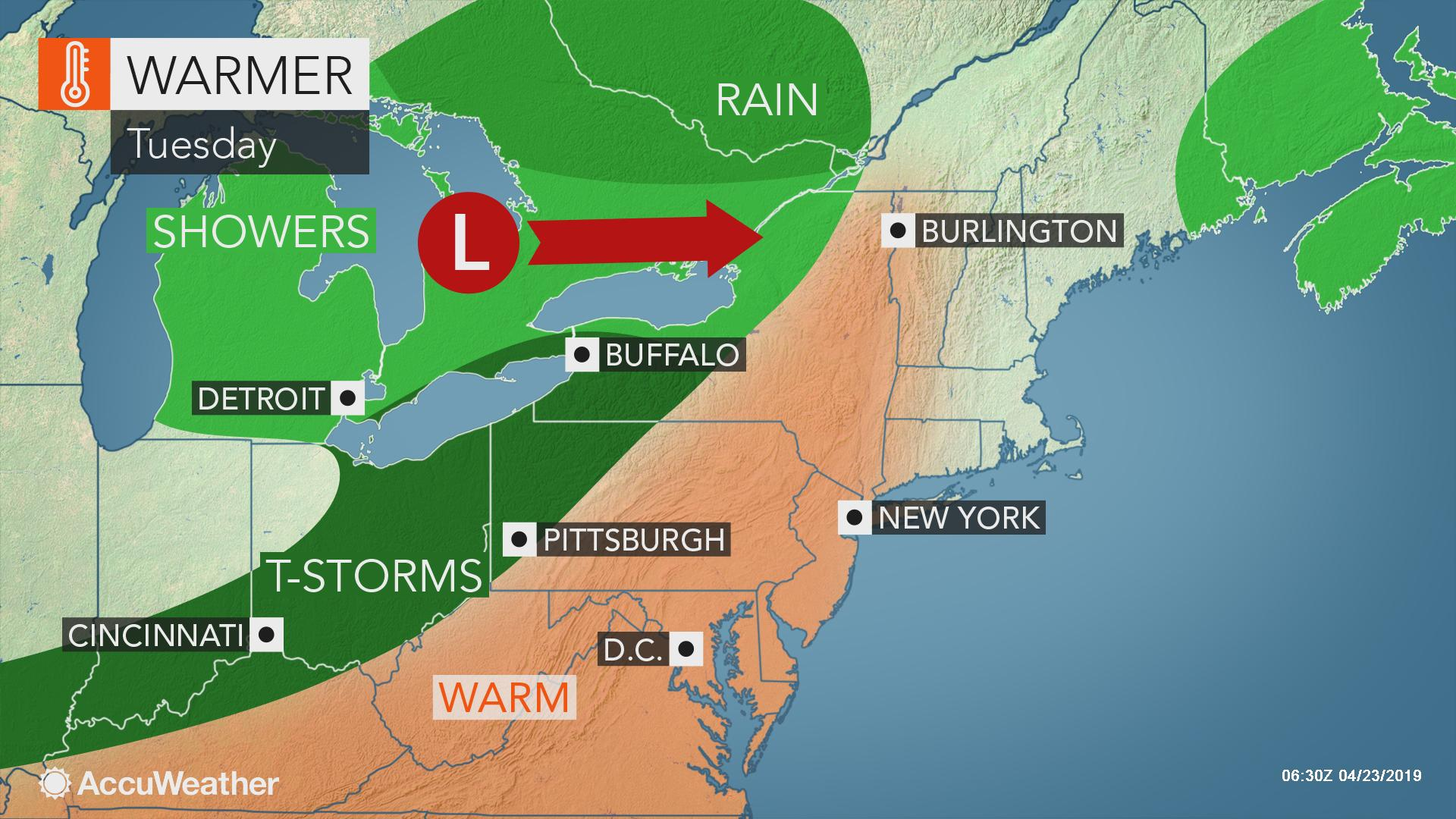 Heavy, gusty thunderstorms to rumble from New York state to