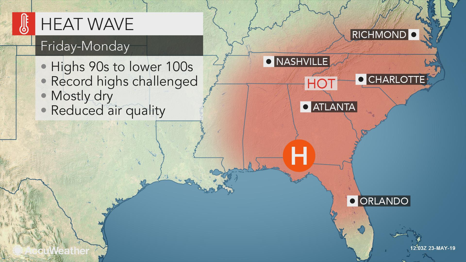 Southeastern US to endure lengthy streak with highs nearing