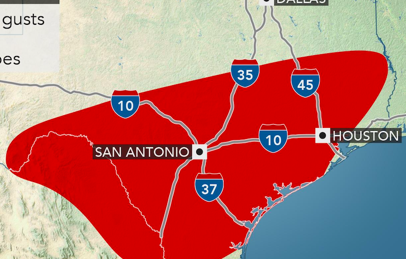Map Of Texas San Antonio.Severe Storms Unleash Tornadoes Damaging Wind And Hail In Texas