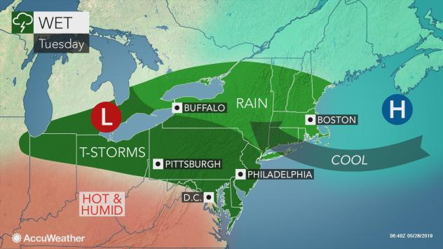 Severe weather to threaten parts of northeastern US Tuesday