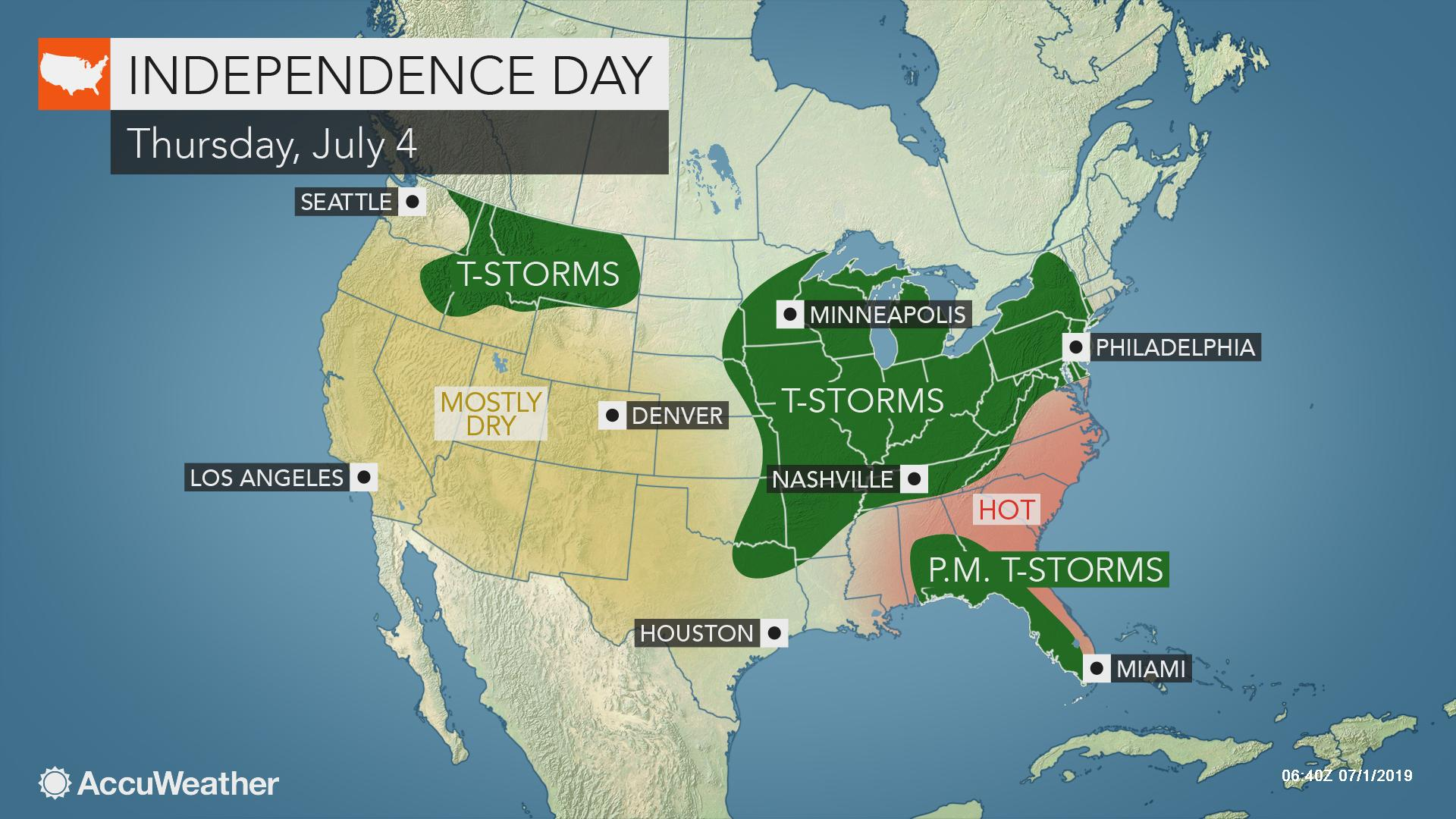 4th of July outlook 2019: Where will natural fireworks