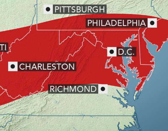 Severe storms to threaten Philadelphia to Washington, DC
