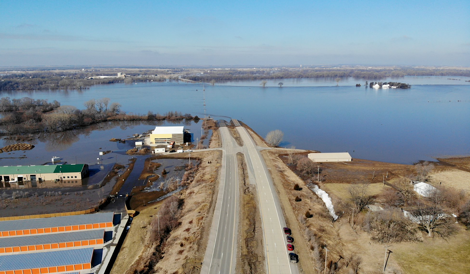 Historic Nebraska flooding visible from outer space in