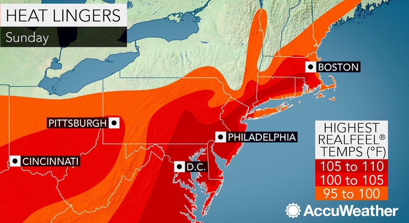 Sunday to mark peak of dangerous heat wave from Boston to ...