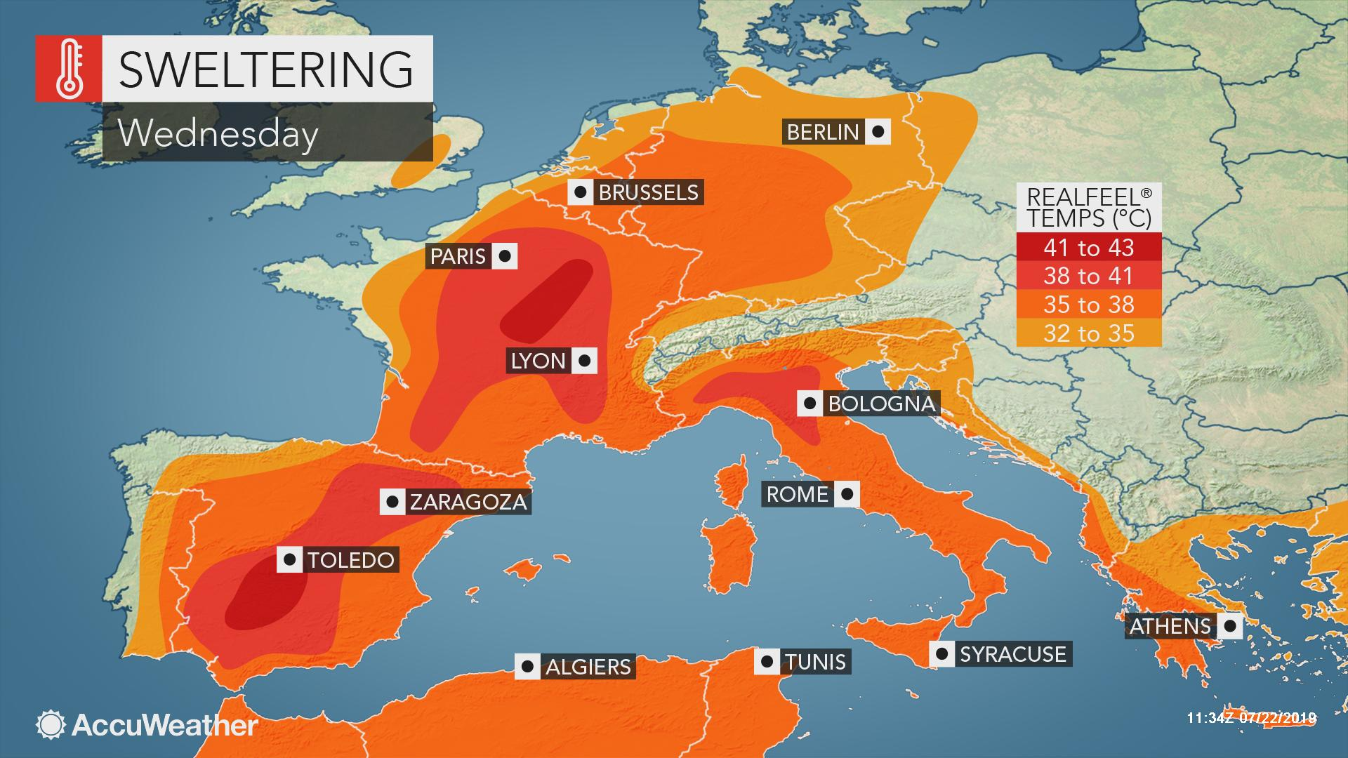Map Of Spain And Europe.Dangerous Heat Wave To Grip Europe From Spain To Germany To Italy
