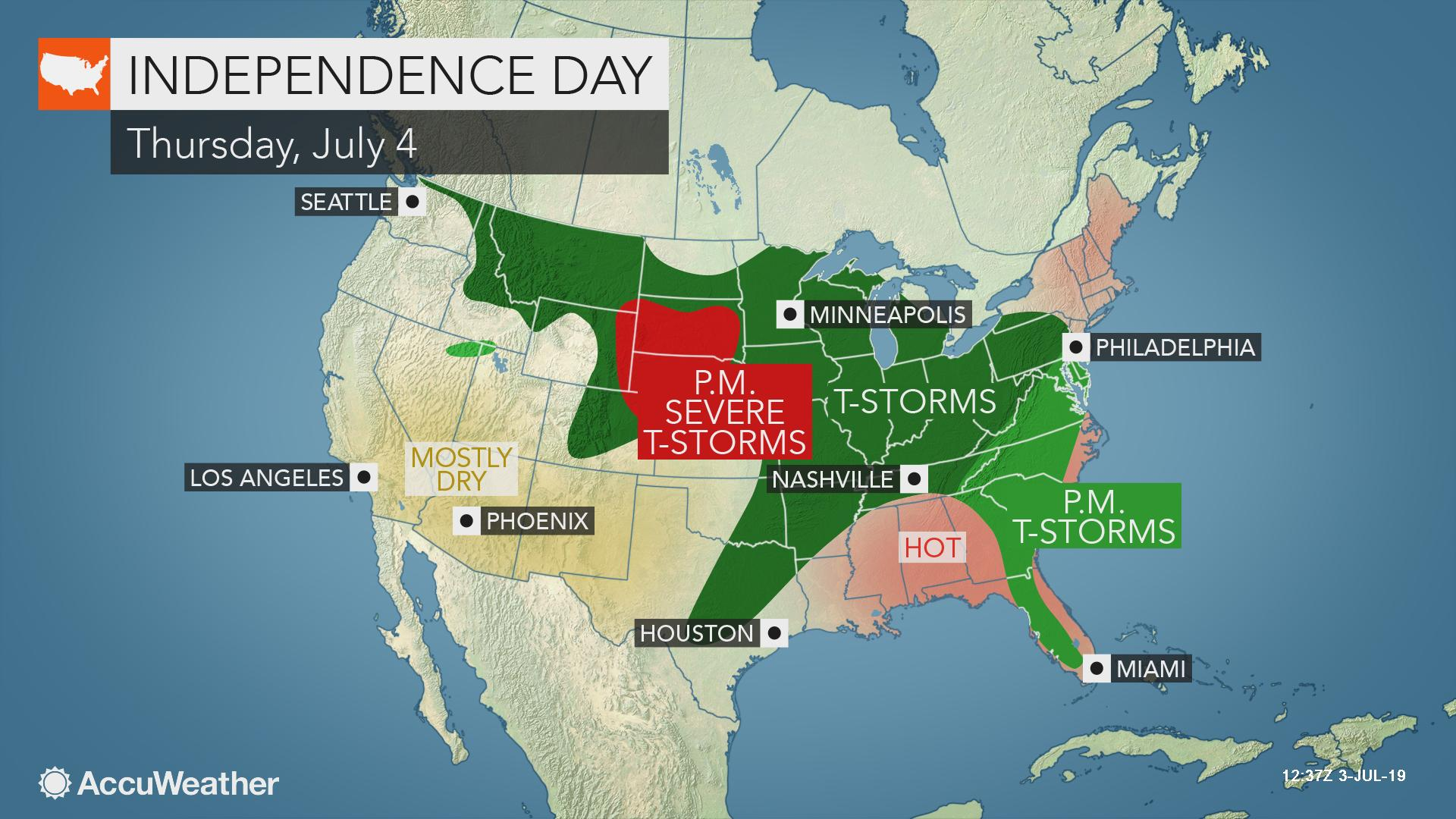 Where might thunderstorms steal the fireworks show on the