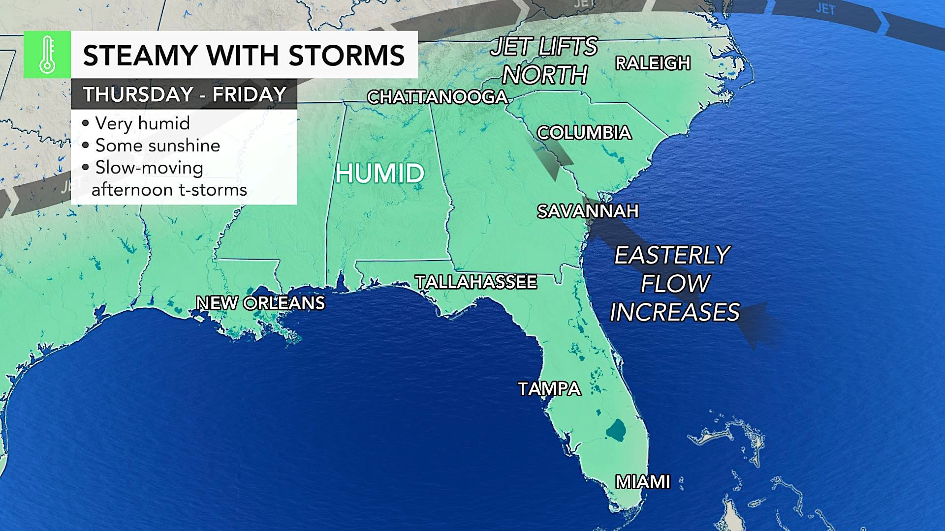 Intense heat, tropical downpours to pester southern US