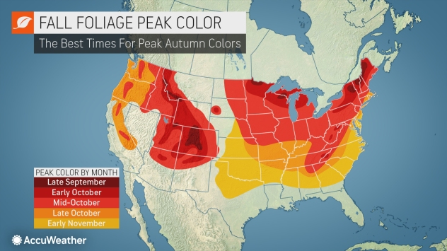Fall Foliage Prediction Map 2020.Accuweather S 2019 Us Fall Foliage Forecast Accuweather