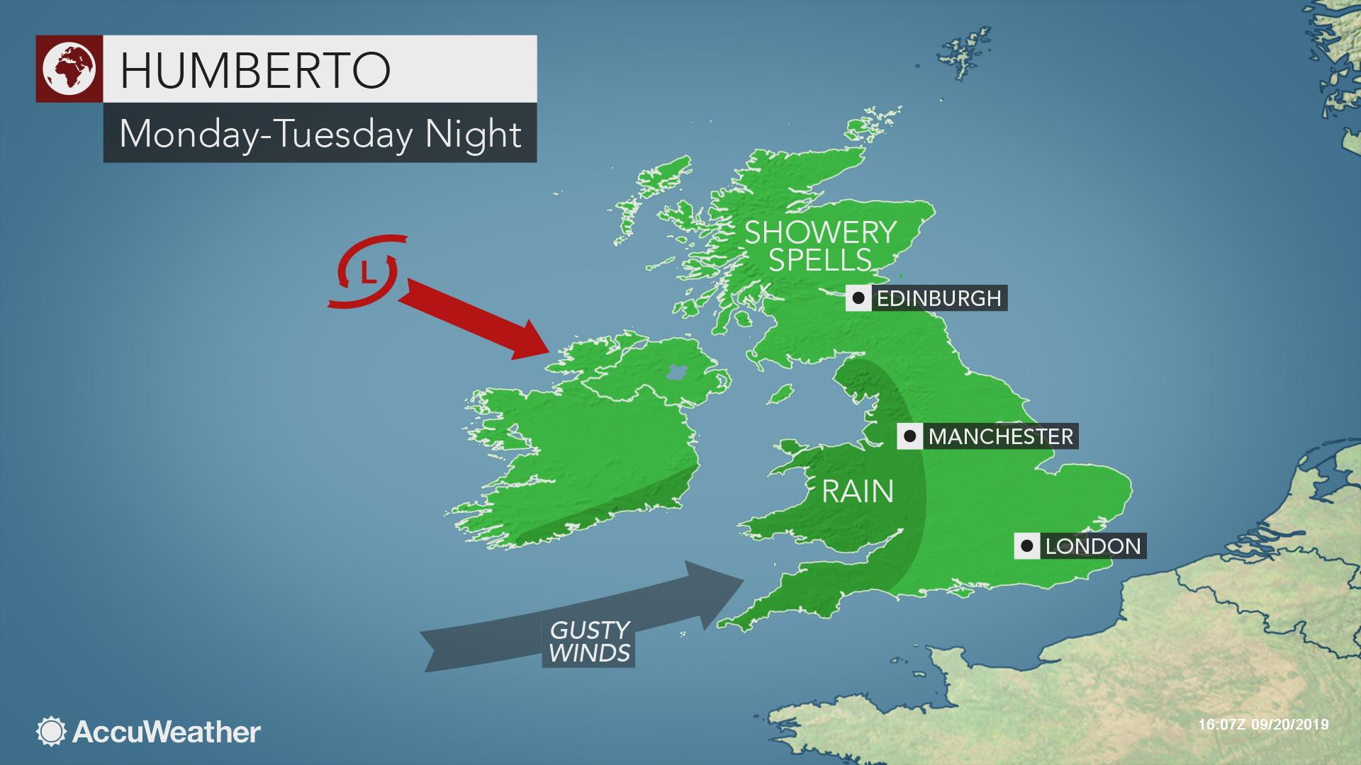 UK braces for Humberto's rain and gusty winds early next week