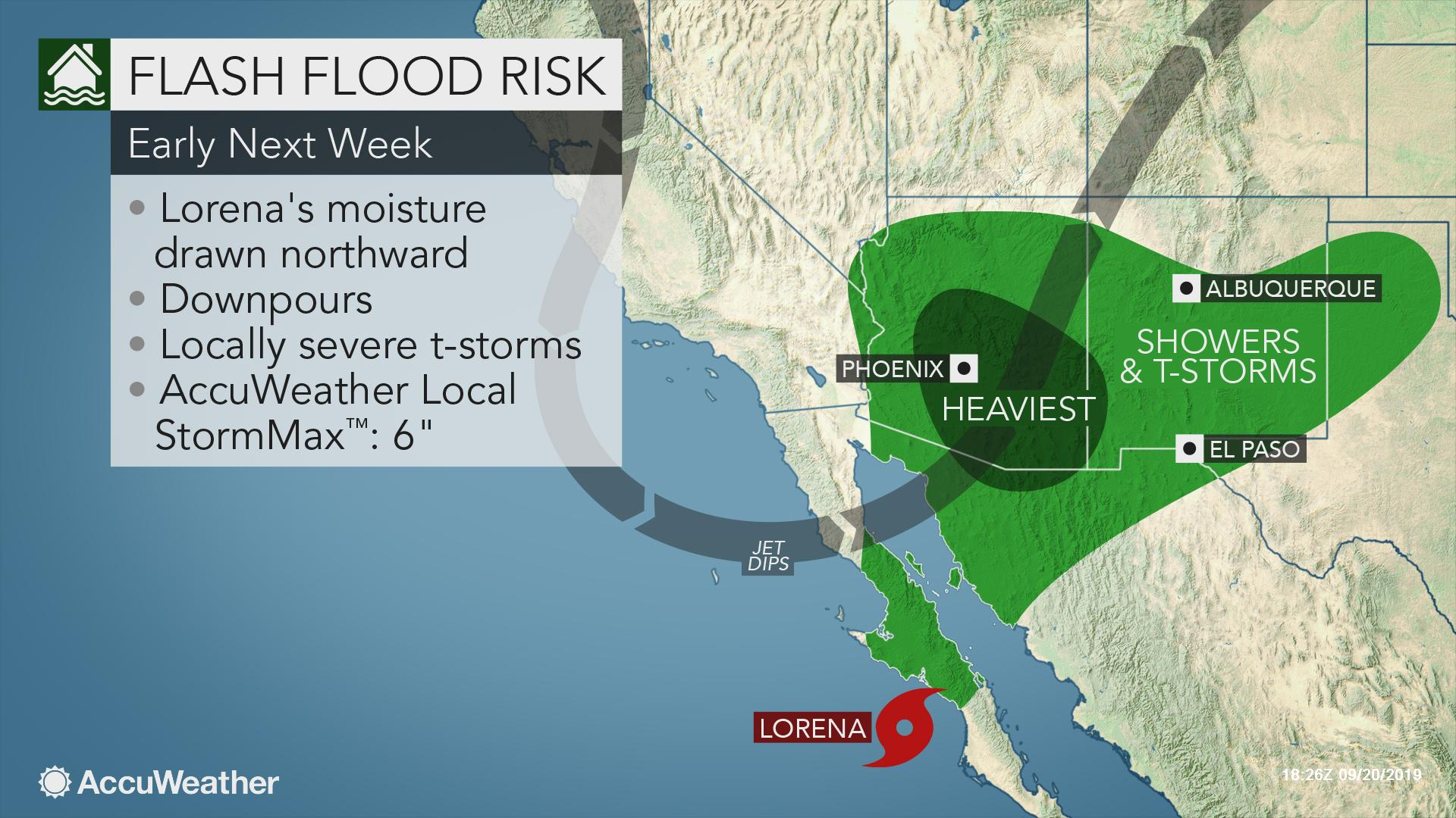 Tropical downpours to threaten flooding amid drought in southwestern US next week